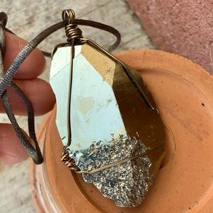"""Pyrite """"Fools Gold"""" Crystal Necklace"""